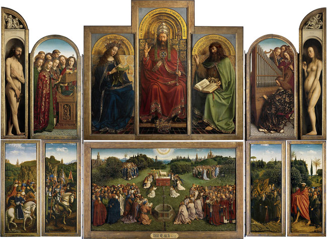 The Ghent Altarpiece (or The Adoration of the Mystic Lamb), click for a larger view.